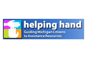Helping Hand logo with tagline: Guiding Michigan Citizens to Assistance Resources