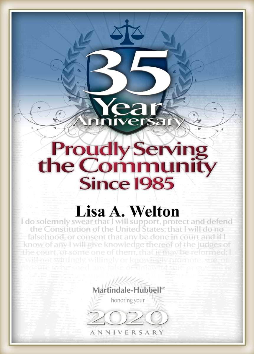 Martindale-Hubbell 35 Year Anniversary honoring Lisa A. Welton